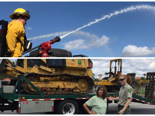 Above, North Fort Myers Fire District firefighters Blaize French demonstrates firefighting technique a Heron's Glen in North Fort Myers. In he bottom photo, Florida Forestry Service spokeswoman Samantha Quinn talks about wildfires with Heron's Glen resident Rosemarie Prud'homme