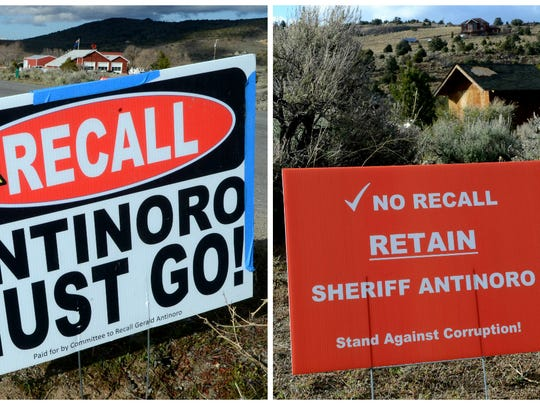 Posters on the Storey County recall election line Lousetown Road. Sheriff Gerald Antinoro, who faces several allegations of misconduct,  won the recall election by 282 votes on April 11, 2017.