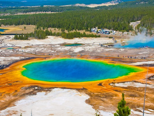 The Famous Grand Prismatic Spring in Yellowstone National Park,USA