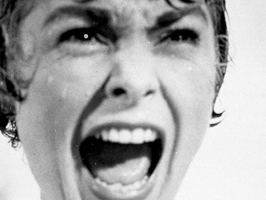 "Janet Leigh during the notorious shower scene in ""Psycho."""