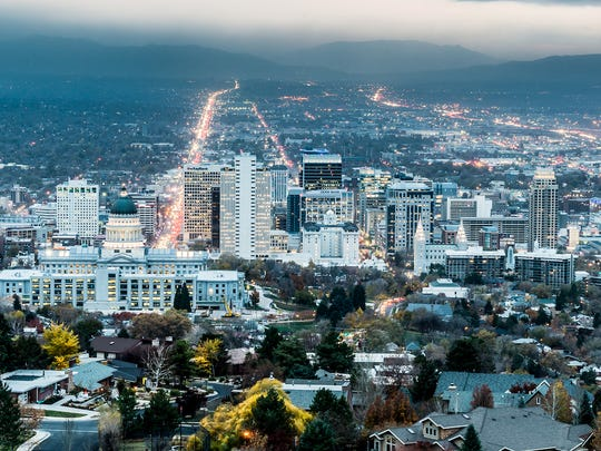 The population of Utah grew by 2.0% in 2016, nearly three times the 0.7% national population growth rate and the fastest pace of any state. Unlike most fast-growing states, the majority of Utah's population increase was due to natural growth. Utah has the largest average family size in the country, and there were 1,854 births per 100,000 people in Utah in 2016 -- far more than the national rate of 1,286 births per 100,000 Americans. Utah also has the lowest death rate in the country. While Utah's high birth-to-death ratio accounted for most of the state's population growth, Utah's population also grew more from inbound migration than many other states. The state's population increased by 0.8% due to net migration in 2016, more than double the 0.3% national figure and the ninth highest rate of any state.