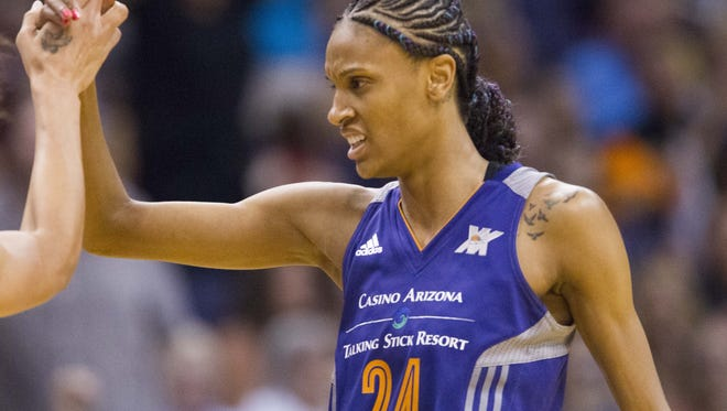 Mercury guard/forward DeWanna Bonner (24) celebrates after hitting a three-pointer during a game against the Chicago Sky on Tuesday, July 19, 2016, at Talking Stick Resort Arena in Phoenix.