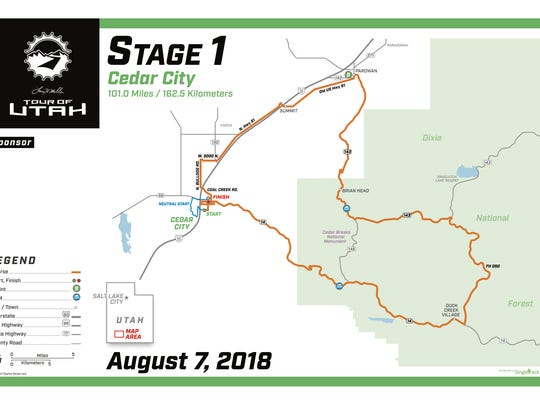 Map of Stage 1 of the Tour of Utah taking place in