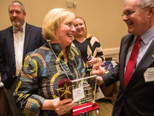 Kamela Patton of Collier County smiles after winning the award for superintendent of the year at the Florida School Board Association's 72nd annual join conference, hosted at the Grand Hyatt in Tampa Bay on Thursday, Nov. 30, 2017.