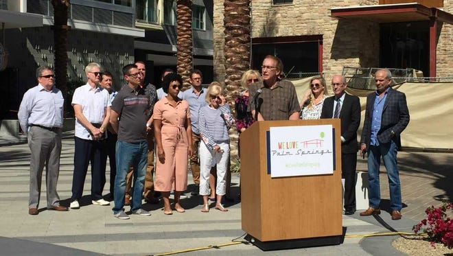 Bruce Hoban, a member of a group opposing a ballot initiative to ban short-term vacation rentals in residential Palm Springs neighborhoods, speaks a a press conference on March 6, 2018.