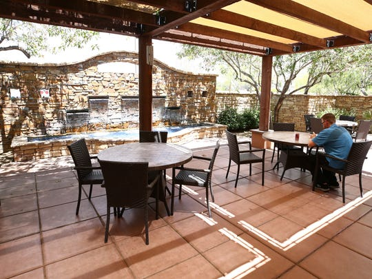 Patio at the Monterey Bistro which is open-to-the-public at Sante of Surprise on May 7, 2018 in Surprise, Ariz. Sante of Surprise is a short-term rehab facility for elderly patients.