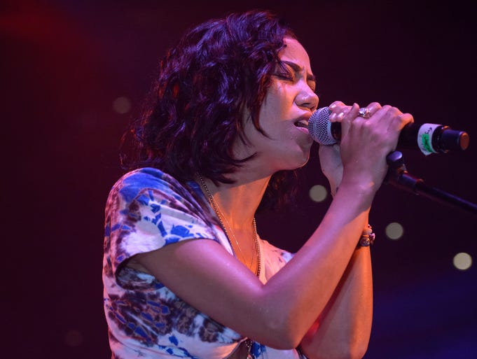 Jhene Aiko performs. Honest Tour featuring Future and Jhene Aiko at the Blue Cross Arena on May 30.