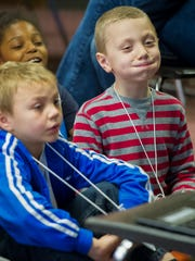Bentley Sutton, 7, of Evansville, holds his breath during the 12th annual Camp Nota-Gona-Wheeze at Delaware Elementary School in Evansville, Tuesday, March 28, 2017. The camp is sponsored by St. Mary's Health for children kindergarten through fifth grade who have asthma.