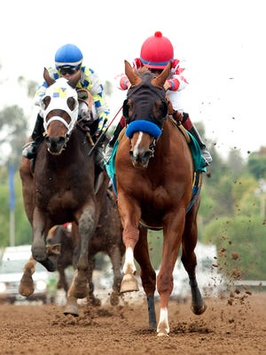 Speedway Stable's Collected and jockey Martin Garcia, right, outleg Laoban (Tyler Baze) to win the Grade III $100,000 Sham Stakes Saturday, January 9, 2016 at Santa Anita Park, Arcadia, CA.BENOIT PHOTO