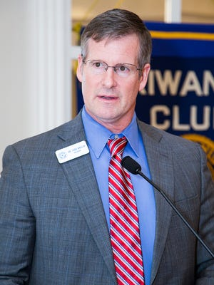 Dr. Thad Anglin, president of Cisco College addresses the Kiwanis Club of Abilene at its Feb. 22 meeting.