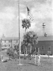 Camp Murphy, showing administration buildings and flagpole in 1943.