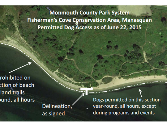 This map shows how the inlet beach at Fisherman's Cove Conservation Area will be shared among park users with and without dogs. The compromise came after dog owners expressed concerns about new hours that began Memorial Day weekend.