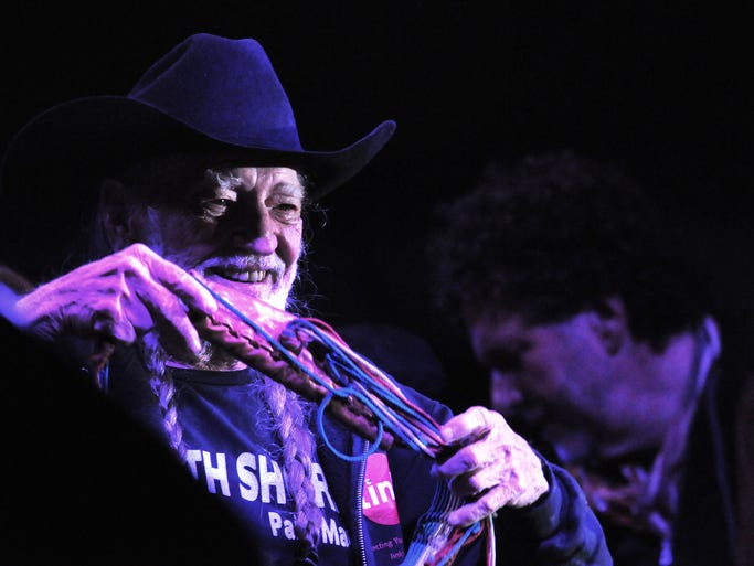 Co-headliner Willie Nelson hits the stage at The Woods at Fontanel.