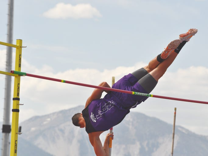 Yerington senior Tylor Thomas competes in the pole vault May 24, where he finished third, the NIAA State Track and Field championships.