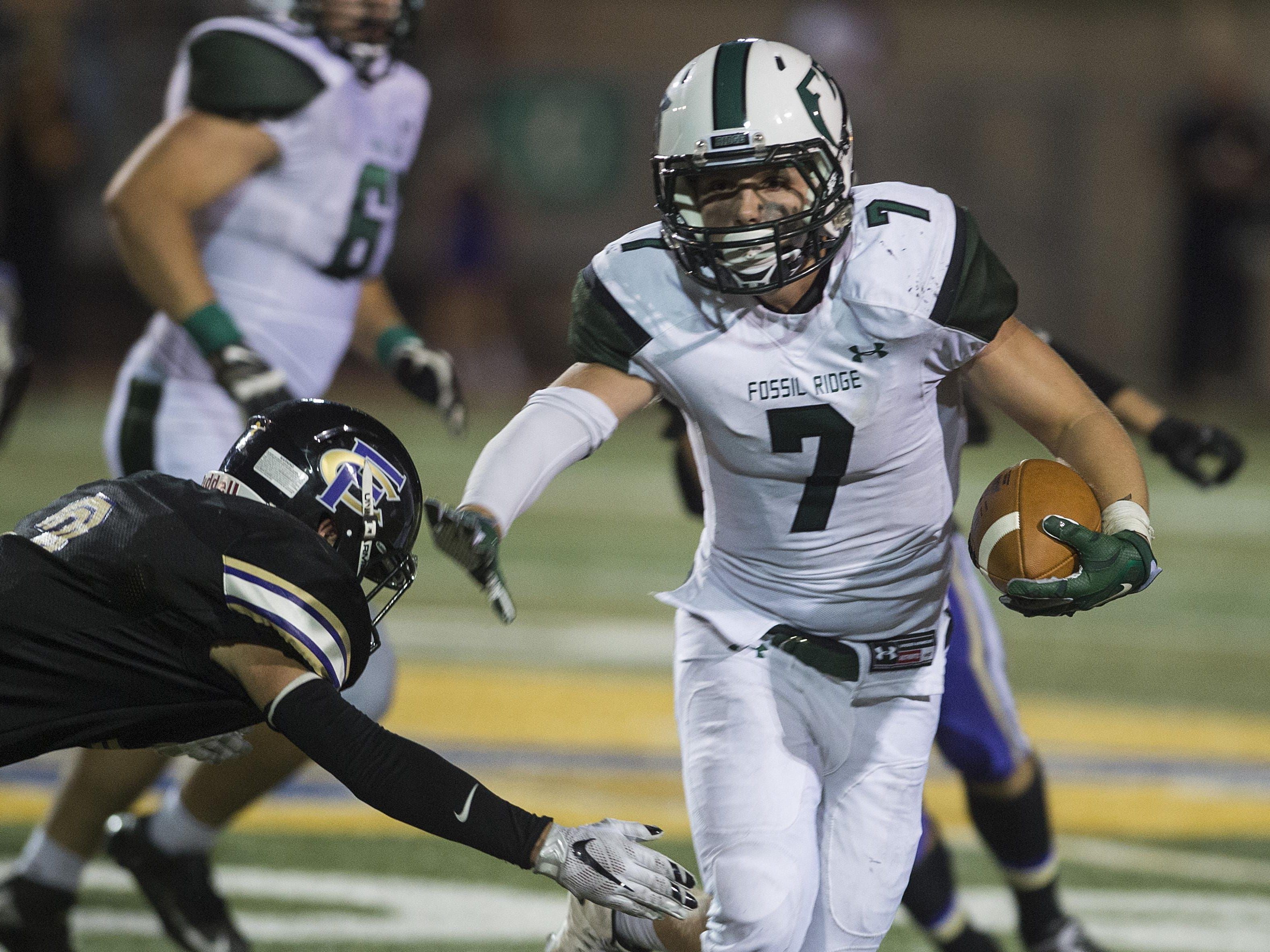 Fossil Ridge's Cole Schilling in a game earlier this season. The SaberCats play Poudre at 7 p.m. Friday at French Field.