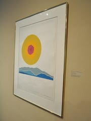 A serigraph by Charles H. Jeffress from the Louisiana State Art Collection hangs at the Alexandria Museum of Art.