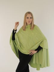 Hand-painted bamboo cape shown with flat front bamboo pant.