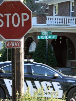 A Bucyrus police car goes through the intersection of East Southern Avenue and Rogers Street.