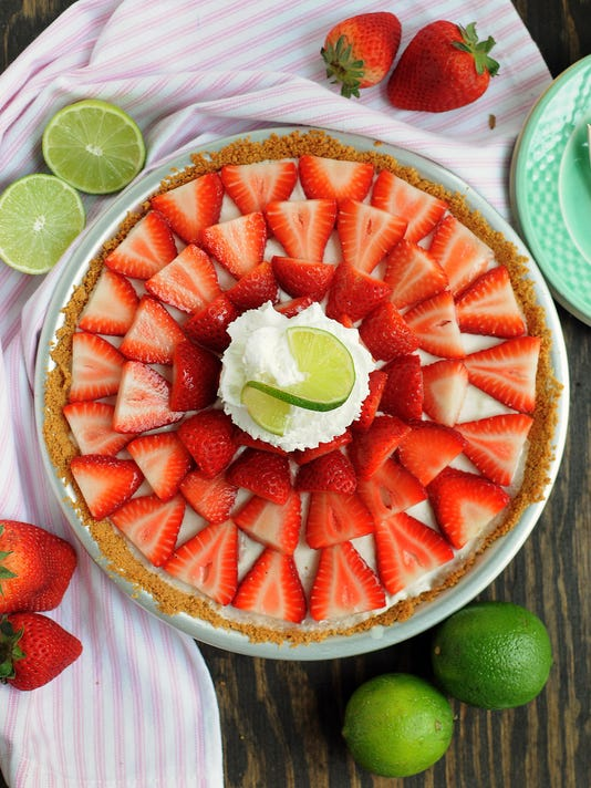 No Bake Strawberry Buttermilk Key Lime Pie
