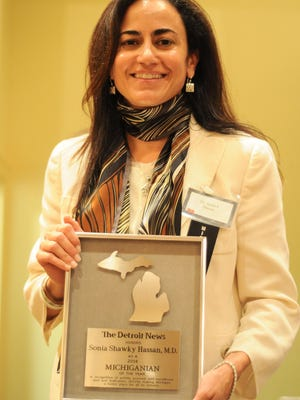 Dr. Sonia Hassan was honored at The Detroit News' 36th annual Michiganians of the Year awards in 2004.