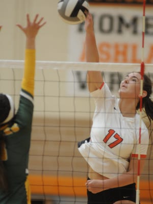Ashland's Karli Shepherd spikes the ball during a high school volleyball match against Clay on Saturday at Arrow Arena. The Arrows lost in four sets.