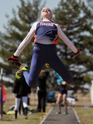 Galion's Marisa Gwinner competes in the Girls Long Jump during the Bucyrus Elks 156 Track Invitational Saturday at Bucyrus High School.