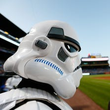 A storm trooper character from the 501st Legion stands guard prior to the game between the Atlanta Braves and the New York Mets at Turner Field on September 19, 2014 in Atlanta, Georgia.
