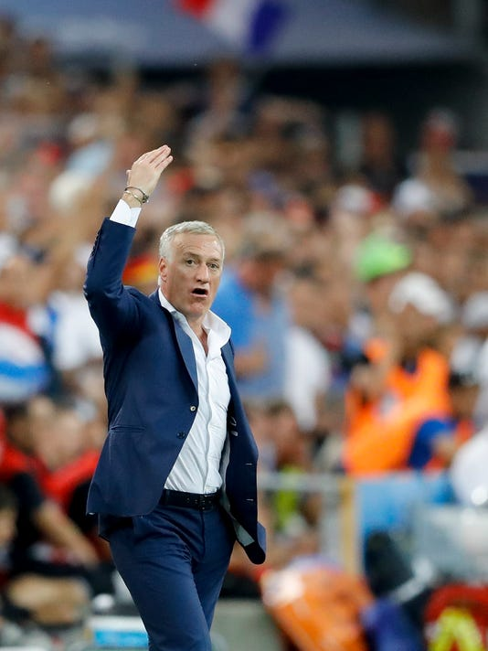 France coach Didier Deschamps reacts during the Euro 2016 semifinal soccer match between Germany and France, at the Velodrome stadium in Marseille, France, Thursday, July 7, 2016. (AP Photo/Frank Augstein)