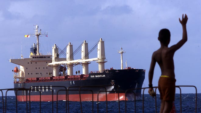 The freighter M.V. Ikan Mazatlan delivers 26,400 tons of corn to the port of Havana in 2001, the first direct commercial export of agricultural products from the United States to Cuba since 1963. Exports to Cuba could increase dramatically under new rules created under President Obama.