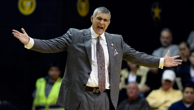 South Carolina head coach Frank Martin reacts to an officials foul call against one of his players in the second half of an NCAA college basketball game against Vanderbilt, Saturday, Feb. 18, 2017, in Nashville, Tenn. Vanderbilt won 71-62. (AP Photo/Mark Zaleski)