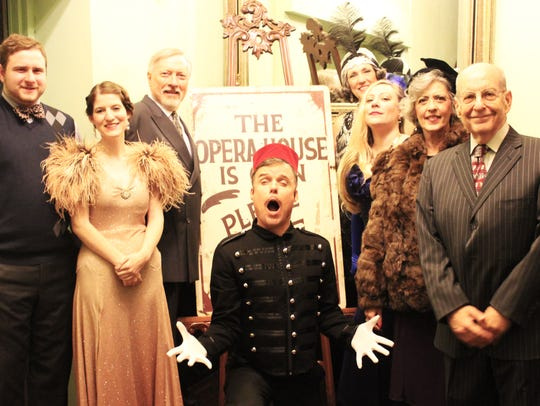 "The cast of Monticello Opera House's 2017 production of ""Lend Me A Tenor"": Theo Blumstein as Max, Mandy Holley as Maggie Saunders, Duncan Hoehn as Tito Merelli, Erich Brough as bellhop, Brenda Gibbs as Julie Leverett, Lyndsey Woods as Diana, Angela Perry as Maria Merelli, and Alan Kagan as Henry Saunders."
