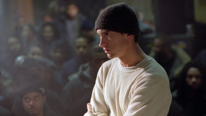 "In a scene from ""8 Mile,"" Jimmy (Eminem) stares down his opponent in a  freestyle rap battle."