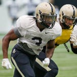 Safety Leroy Clark during Purdue spring football practice Thursday in the Mollenkopf Athletic Center.