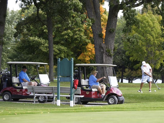 A golfer tees off Friday, Sept. 15, 2017, at Lakeshore