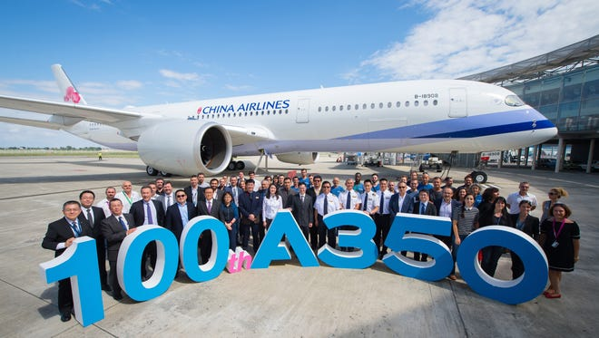 Airbus celebrated the delivery of its 100th A350 at a delivery ceremony in Toulouse, France, on July 26, 2017. The milestone aircraft went to customer China Airlines.