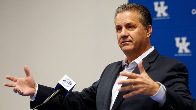 Kentucky men's NCAA college basketball head coach John Calipari speaks to the media during the teams Media Day on campus Wednesday, Oct. 14, 2015, in Lexington, Ky.
