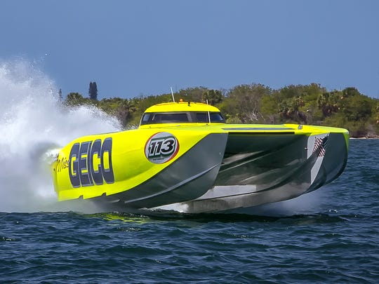 The 50-foot, 3,300-horsepower Miss GEICO powerboat