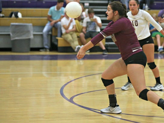 Eagleville's Tori Laidig bumps a serve during Tuesday's