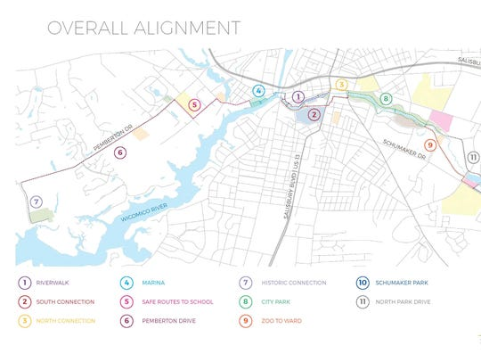 This map shows each phase of the Urban Greenway Plan.