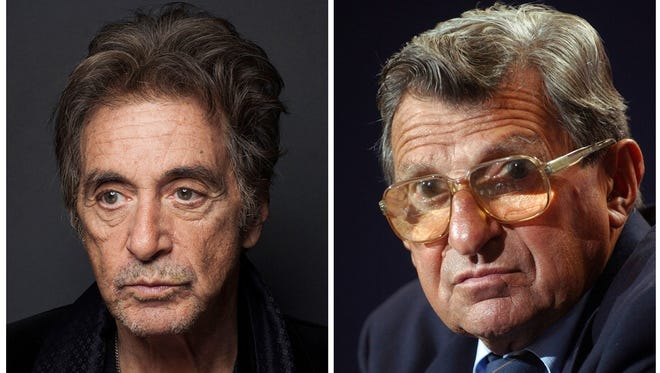In this combination photo, actor Al Pacino, left, appears during a photo shoot in New York on Dec. 7, 2012  and Penn State football coach Joe Paterno pauses during a media day press conference at Beaver Stadium in State College, Pa., on Aug. 8, 2004. Pacino will star as late Penn State football coach in an upcoming HBO biopic directed by Barry Levinson. HBO says the film will focus on Paterno dealing with the fallout from the child sex abuse scandal involving his former assistant, Jerry Sandusky.