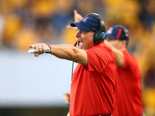 Arizona head coach Rich Rodriguez reacts during UA's