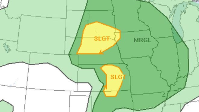 Severe weather risk for the area.