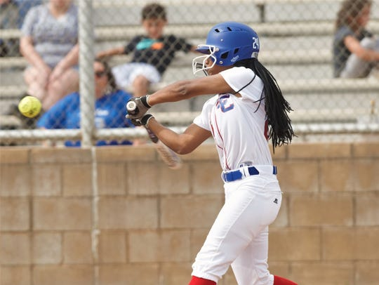 Cooper's Symone Gary hits an RBI single in the first