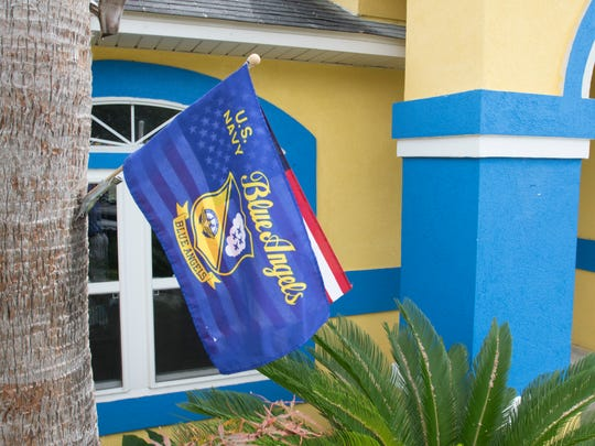 Blue Angels Super Fan Adam Canevari flies Blue Angels and American flags at his house in Pensacola, FL on Wednesday, July 6, 2016.