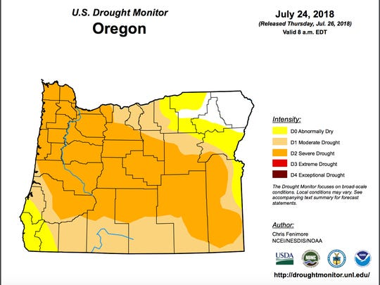 Much of Oregon is in drought, according to the US Drought Monitor