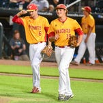 Kuemper Catholic Pitcher Tyler Williams (6) and teammate Third Baseman Tyler Laing (19) chat as they take the field in the fifth on Monday, July 25, 2016, during the 2A quarter finals between Kuemper Catholic and Collins-Maxwell-Baxter at Principal Park, Des Moines, IA.