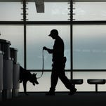 Officer James Howard, of the Cincinnati/Northern Kentucky International Airport Police Department, leads his 11/2-year-old K-9, Barras, through empty ticket kiosks July 20, 2011, at the airport. The team specializes in explosive detection.