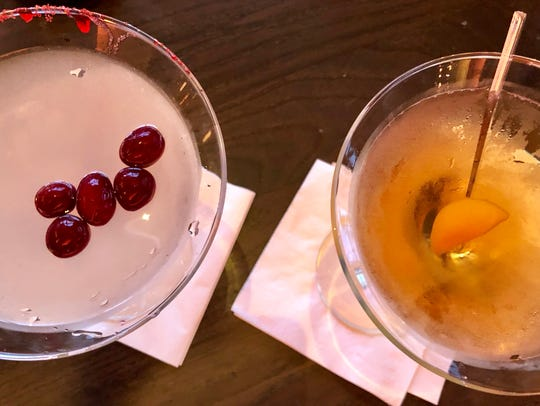 The white dragon cocktail ($14), left, and the samurai