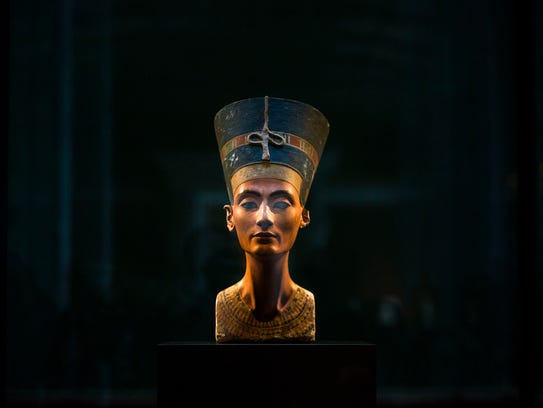 A 3,300-year-old bust of Queen Nefertiti  is displayed