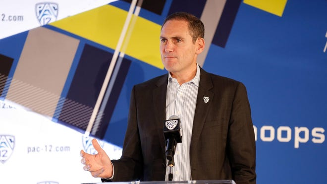 Pac-12 commissioner Larry Scott during the Pac-12 conference men's basketball media day at Pac-12 Networks.